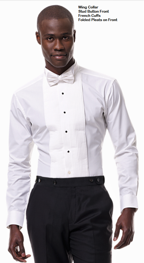 Tuxedo Shirt - Pleated Front Wing Collar