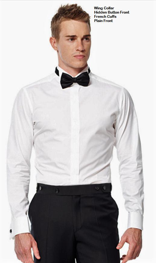 Tuxedo shirt - Hidden button front wing collar