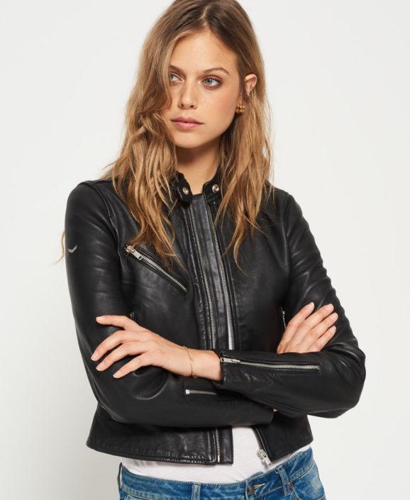 Ladies Leather Biker Jacket Tailored