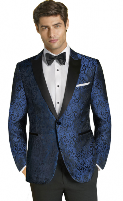 Blue Paisley Tuxedo Jacket OM Custom Tailors